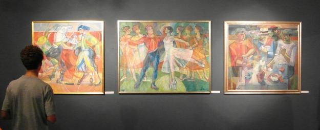 """Da sinistra: """"Corrida"""" 2004/06, """"Balletto all'Opera di Nizza"""" 2004, """"Giocatori di carte"""" 1979/96"""