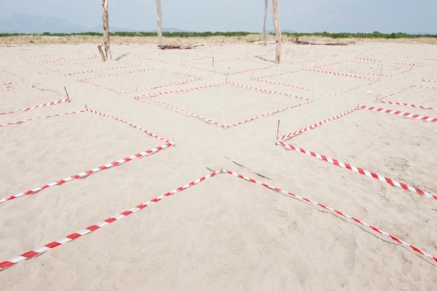 Delimitazioni di superficie, 2013. Nastro segnaletico e bastoncini di legno, dimensioni varibili